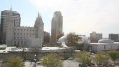 A view of down town saltlake temple square Stock Footage