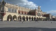 Stock Video Footage of Time lapse Sukiennice (the Cloth Hall,Drapers' Hall), Old Town, Krakow, Poland