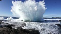 Massive wave splash at rock pool Stock Footage