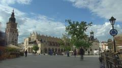 Time lapse of Town Hall Tower, Sukiennice, St. Adalbert's church.  Stock Footage