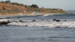 Waves at Malibu Beach Stock Footage