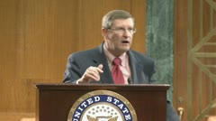 (2 of 2) Senator Kent Conrad on government debt - stock footage