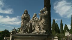Old cemetery family plot in Rome, glidecam Stock Footage
