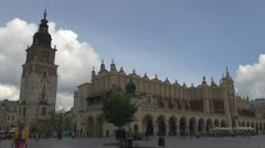 View of St. Mary's Basilica and Sukiennice in Krakow, Poland Stock Footage