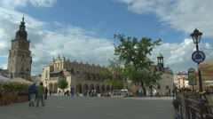 View to Town Hall Tower, Sukiennice and Adalbert's Church Stock Footage