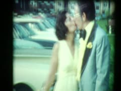 Formal 70's Couple Kisses Stock Footage