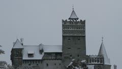 Bran Castle in winter Stock Footage