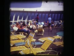 Pool deck aboard QE2 - stock footage