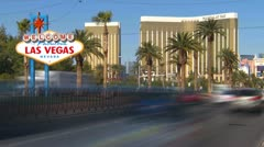 Las Vegas welcome sign, with traffic time-lapse Stock Footage
