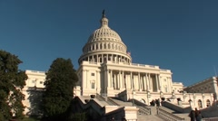 Capitol, people descend stairs, US Capitol Building Stock Footage
