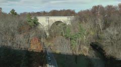 Suicide barrier (anti-suicide railing) on bridge. - stock footage