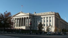 U.S. Treasury Department - with traffic & tourists crossing street Stock Footage