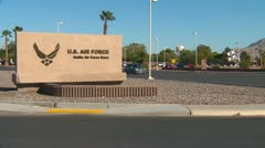 Military, US Air Force Nellis AFB sign medium shot Stock Footage