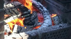 Burning fire in outdoors fireplace 31 Stock Footage