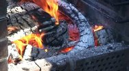 Stock Video Footage of Burning fire in outdoors fireplace 31