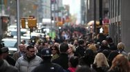 Stock Video Footage of Crowd Walking street sidewalk people NY City manhattan