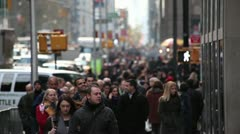 Crowd walking sidewalk on the street of New York City - stock footage