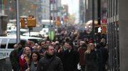 Crowd walking sidewalk on the street of New York City Stock Footage