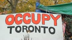 Occupy Toronto. Sign. Stock Footage