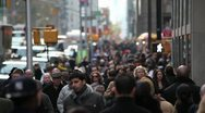 Crowd walking sidewalk city street people new york city manhattan Stock Footage