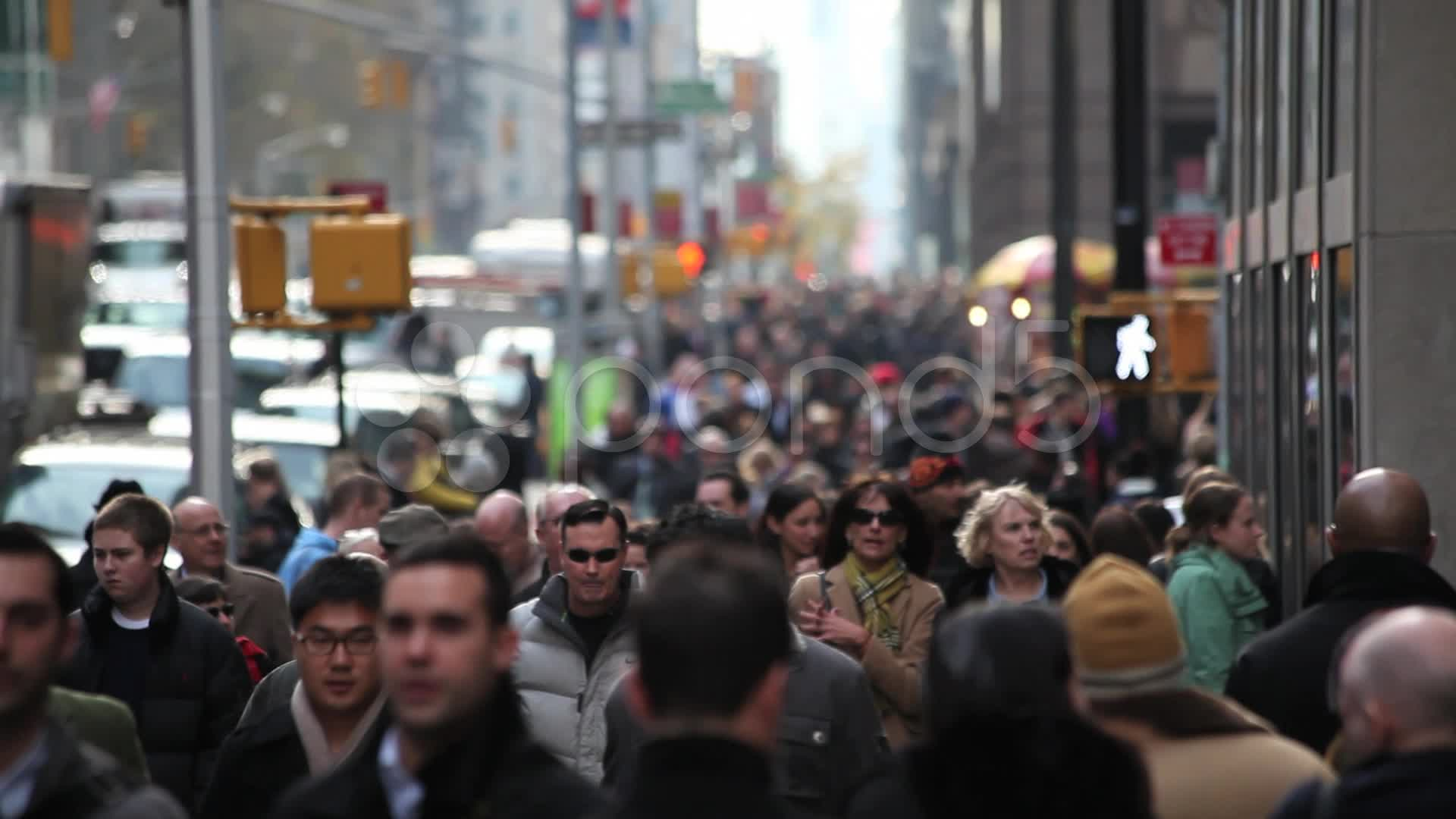 Crowd walking sidewalk city street people new york city ...