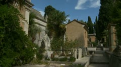 Cemetery tomb & roses (glidecam) Stock Footage