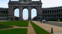 Triumphal Arch in the Parc du Cinquantenaire in the Brussels, Belgium Stock Footage