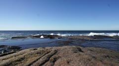 Massive wave splash on rocks Stock Footage