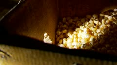 Grinding corn in old watermill in a traditional way Stock Footage