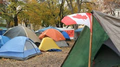 Occupy Toronto. Canadian flag. Stock Footage