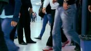 Crowds of people entering the sports hall Stock Footage