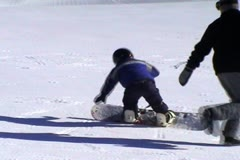 Snow boarding 101, balancing - stock footage