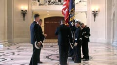 Naval military students standing in the hallway of Academy Stock Footage