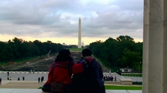 Couple on the entrance of Lincoln Memorial Centre Stock Footage
