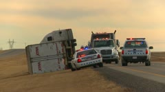 Weather, extreme wind, wrecked transport truck, police vehicles Stock Footage