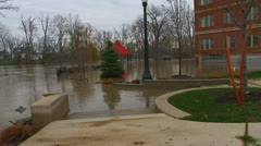 Flood waters from the Raisin River from early December rain storms up river. Stock Footage