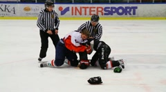 Ice hockey players fighting - stock footage