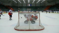 Scoring a goal in ice hockey Stock Footage