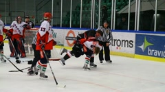 Ice hockey players fighting Stock Footage