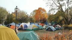 Occupy Toronto. Autumn tents. Stock Footage