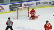 Stock Video Footage of Shannon Szabados, Canada, making a save