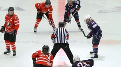 Face-off, Canada-USA, women - stock footage