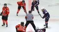 Stock Video Footage of Face-off, Canada-USA, women
