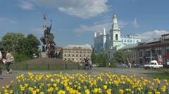 People walking in Sophievskaya Square in Kiev, Ukraine Stock Footage