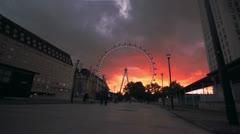 London Timelapse - london eye 01 - sunset Stock Footage
