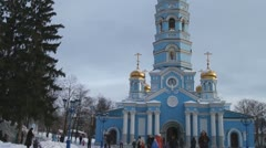 Russian Orthodox Church. Golden domes. The Cathedral. Winter in Russia Stock Footage