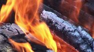 Stock Video Footage of Burning fire in outdoors fireplace 22