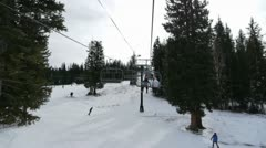 Riding on the chairlift Stock Footage