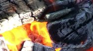 Stock Video Footage of Burning fire in outdoors fireplace 23