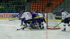 Rough hockey situation, Sweden-Finland Stock Footage